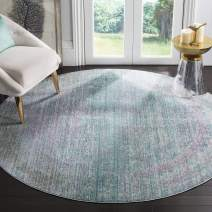 """Safavieh Valencia Collection VAL203P Turquoise and Multi Distressed Watercolor Silky Polyester Round Area Rug (6'7"""" in Diameter)"""