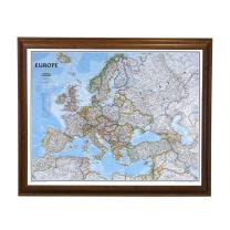 Push Pin Travel Maps Classic Europe with Brown Frame and Pins