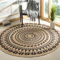 Safavieh Natural-Fiber Round Collection NF802K Hand-Woven Bohemian Area Rug, 4' Round, Black/Natural