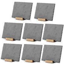 Mini Chalkboard Signs for Tables, 8 Pack - Rustic 5x6 Inch Small Slate Tabletop Chalk Boards with Wood Stands Set