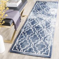 """Safavieh Dip Dye Collection DDY539N Handmade Geometric Moroccan Watercolor Navy and Ivory Wool Runner (2'3"""" x 6')"""