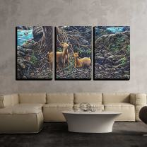 """wall26 - 3 Piece Canvas Wall Art - Oil Painting on Canval - Deer in The Forest - Modern Home Decor Stretched and Framed Ready to Hang - 16""""x24""""x3 Panels"""