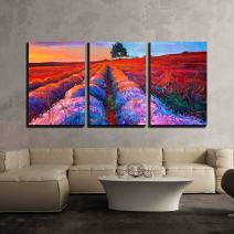 """wall26 - 3 Piece Canvas Wall Art - Original Oil Painting of Lavender Fields on Canvas.Rich Golden Sunset Landscape - Modern Home Decor Stretched and Framed Ready to Hang - 16""""x24""""x3 Panels"""
