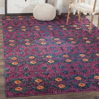 Safavieh Monaco Collection MNC213D Modern Bohemian Colorful Pink and Multi Distressed Area Rug (9' x 12')