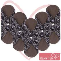 Sanitary Reusable Cloth Menstrual Pads by Heart Felt. XL 5 Pack Washable Natural Organic Napkins with Charcoal Absorbency Layer. Overnight Long Panty Liners for Comfort Support and Incontinence
