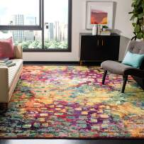 """Safavieh Monaco Collection MNC225D Modern Boho Abstract Watercolor Area Rug, 5' 1"""" x 7' 7"""", Pink/Multi"""