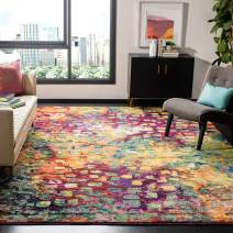 Safavieh Monaco Collection MNC225D Modern Boho Abstract Watercolor Area Rug, 3' Square, Pink/Multi