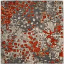 "Safavieh Monaco Collection MNC225H Modern Boho Abstract Watercolor Area Rug, 6' 7"" Square, Grey/Orange"