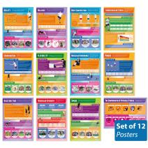 "Components of Physical Fitness Posters - Set of 12 | PE Posters | Gloss Paper Measuring 33"" x 23.5"" 