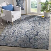 Safavieh Madison Collection MAD604G Geometric Ogee Trellis Distressed Area Rug, 3' x 5', Navy/Silver