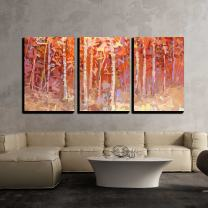 "wall26 - 3 Piece Canvas Wall Art - Abstract Oil Painting Landscape Colorful Autumn Forest - Modern Home Decor Stretched and Framed Ready to Hang - 24""x36""x3 Panels"