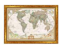 Renditions Gallery Executive National Geographic Travel Map with Push Pins, Wall Art for Living Room, Bedroom, Office, 30x44, Vintage Gold III