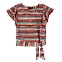 Amy Byer Girls' Short Sleeve Side-tie Top