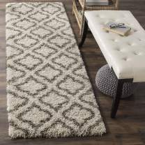 """Safavieh Hudson Shag Collection SGH284A Ivory and Grey Moroccan Geometric Runner (2'3"""" x 8')"""