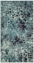 "Safavieh Monaco Collection MNC225J Modern Boho Abstract Watercolor Area Rug, 2' 2"" x 4', Light Blue/Multi"