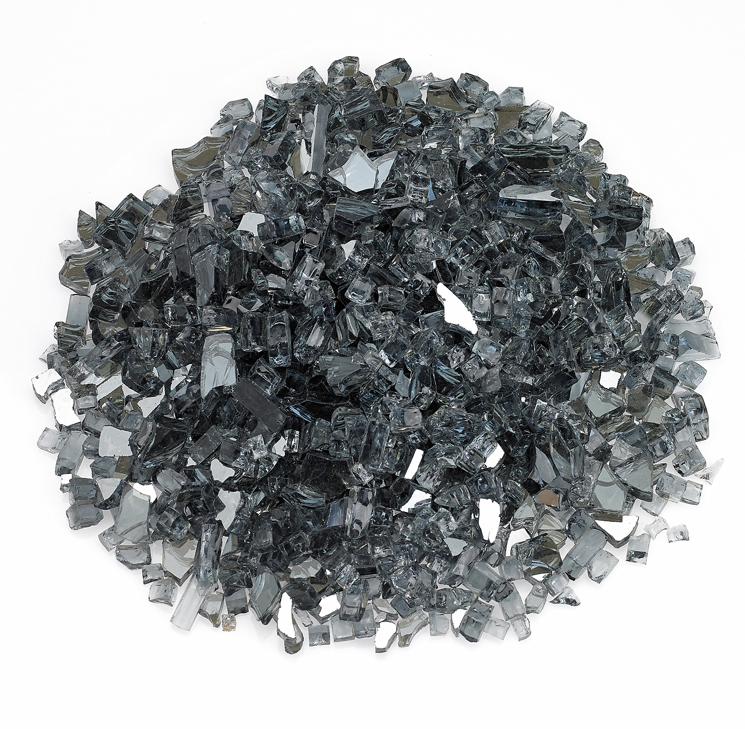American Fireglass 10-Pound Reflective Fire Glass with Fireplace Glass and Fire Pit Glass, 1/4-Inch, Gray