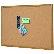 Quartet Cork Board, Bulletin Board, 4' x 6' Corkboard, Oak Finish Frame (307)