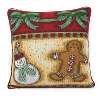 """DaDa Bedding Throw Pillow Cover - Gingerbread Festive Christmas Holiday Tapestry - Sweet Cookies Snowman Cushion Case - 16"""" x 16"""" (12917)"""