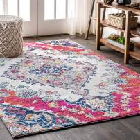 JONATHAN Y BMF105A-4 Bohemian Flair Boho Vintage Medallion Blue/Multi 4 ft. x 6 ft. Area Rug Vintage, Easy Cleaning, for Bedroom, Kitchen, Living Room, Non Shedding