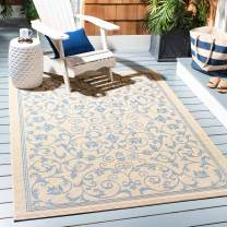 "Safavieh Courtyard Collection CY2098-3101 Natural and Blue Indoor/ Outdoor Area Rug (4' x 5'7"")"