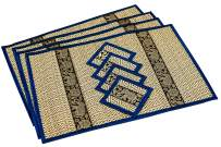 Eco Friendly Handmade, Heat Resistant, Easy to wipe clean, Placemat Coaster 4 sets, 2 sizes Large Medium, Sustainable Kitchen craft Dining table mat natural reed material artisan (Large, Navy Blue)