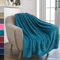 PAVILIA Plush Sherpa Throw Blanket for Couch Sofa | Fluffy Microfiber Fleece Throw | Soft, Fuzzy, Cozy, Shaggy, Lightweight | Solid Blue Turquoise Blanket | 50 x 60 Inches