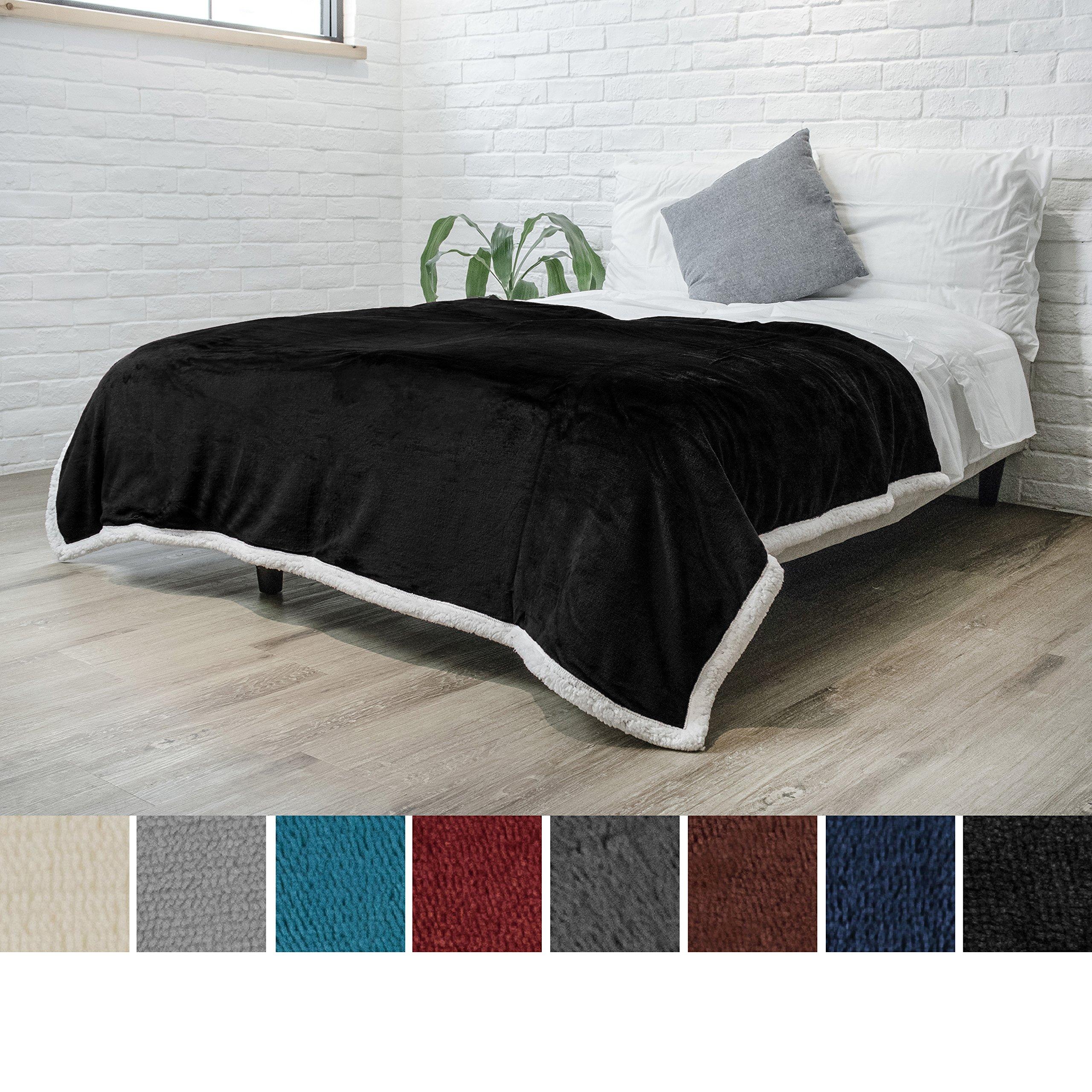 PAVILIA Premium Sherpa Fleece Blanket Twin Size   Soft, Plush, Fuzzy Black Throw   Reversible Warm Cozy Microfiber Solid Bed Blanket (Black, 60x80 Inches)