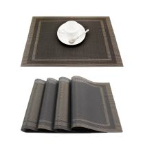 GEFEII Heat-Resistant Woven Vinyl Placemats Stain Resistant Non-Slip Washable PVC Table Mats Place mats for Kitchen Dining Table Wedding Party (Black+Gold, 6)