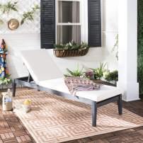Safavieh PAT6730K Outdoor Collection Arcata Grey Sunlounger Lounge Chair, Dark Slate Gray/Beige