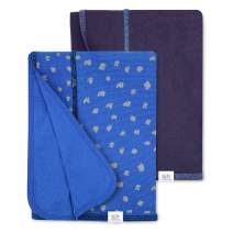 Fruit of the Loom Baby 2-Pack Grow & Fit Stretchy Blanket - Unisex, Girls, Boys (Blue)