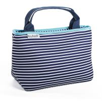 Fit & Fresh Cheshire Neoprene Lunch Bag for Adults and Kids, Lightweight, Washable, Zipper, Waterproof, Navy Nautical Stripe