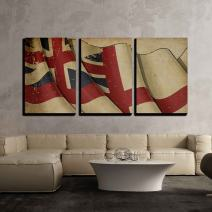"wall26 - 3 Piece Canvas Wall Art - Illustration - Illustration of a Rusty British Naval Flag of The Period 1606-1801 - Modern Home Decor Stretched and Framed Ready to Hang - 24""x36""x3 Panels"