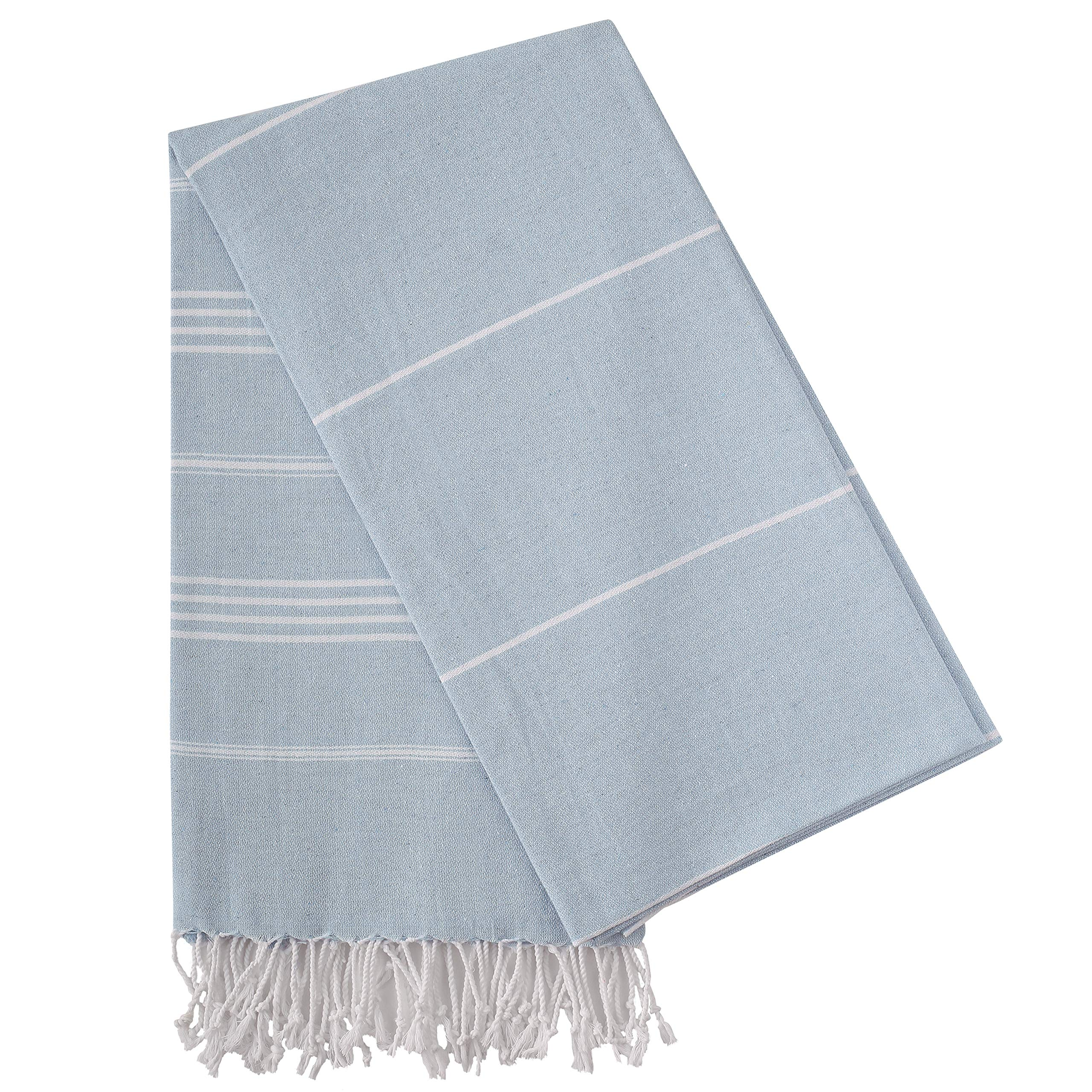 """Cacala Pure Series 37""""x70"""" Multi-Purpose Turkish Towel Made from Upcycled Cotton, Baby Blue"""