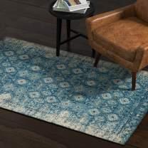 Rivet Modern Distressed Persian Area Rug, 4 x 6 Foot, Blue Multicolor