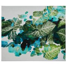 """Splattered Green and Turqoise Blue Paradise Leaves Print, 28"""" x 24"""""""