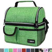 OPUX Insulated Dual Compartment Lunch Bag for Men, Women | Double Deck Reusable Lunch Pail Cooler Bag with Shoulder Strap, Soft Leakproof Liner | Large Lunch Box Tote for Work, School (Green)