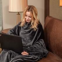 "Wearable Fleece Blanket with Sleeves & Foot Pocket for Adult Women Men,Lightweight Soft Plush TV Blanket Wrap Throw with Sleeves and Adjustable Hook & Loop 79"" x 67"" Charcoal (Kangaroo Pocket)"