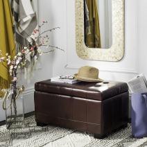 Safavieh Hudson Collection Nolita Leather Small Storage Bench, Cordovan