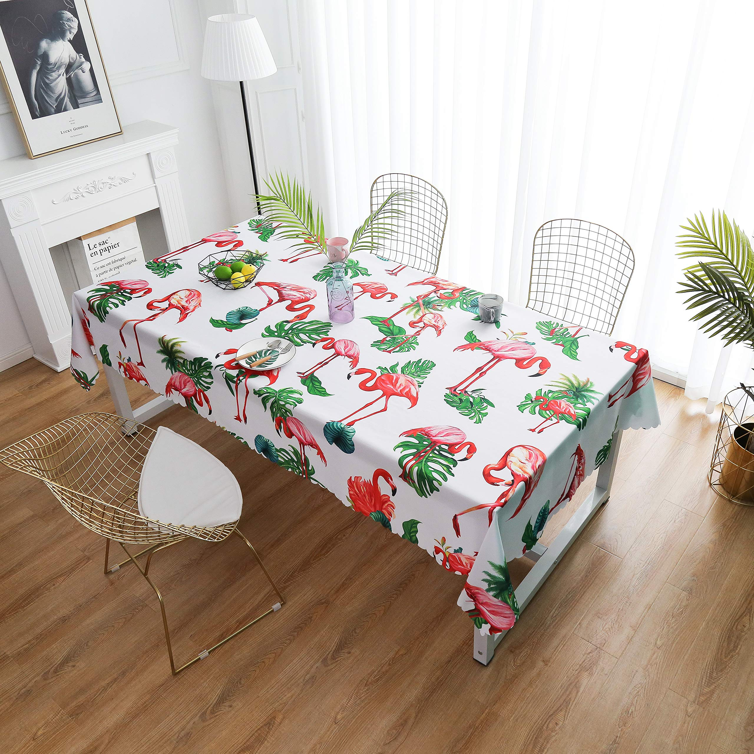 """iLiveX Tablecloth, Original Design Hand Drawing Art Print Table Cloth, Water-Proof Rectangle Table Cover, Kitchen Dining Indoor Outdoor Buffet Tabletop Decoration, 60""""x84"""" (Flamingos)"""