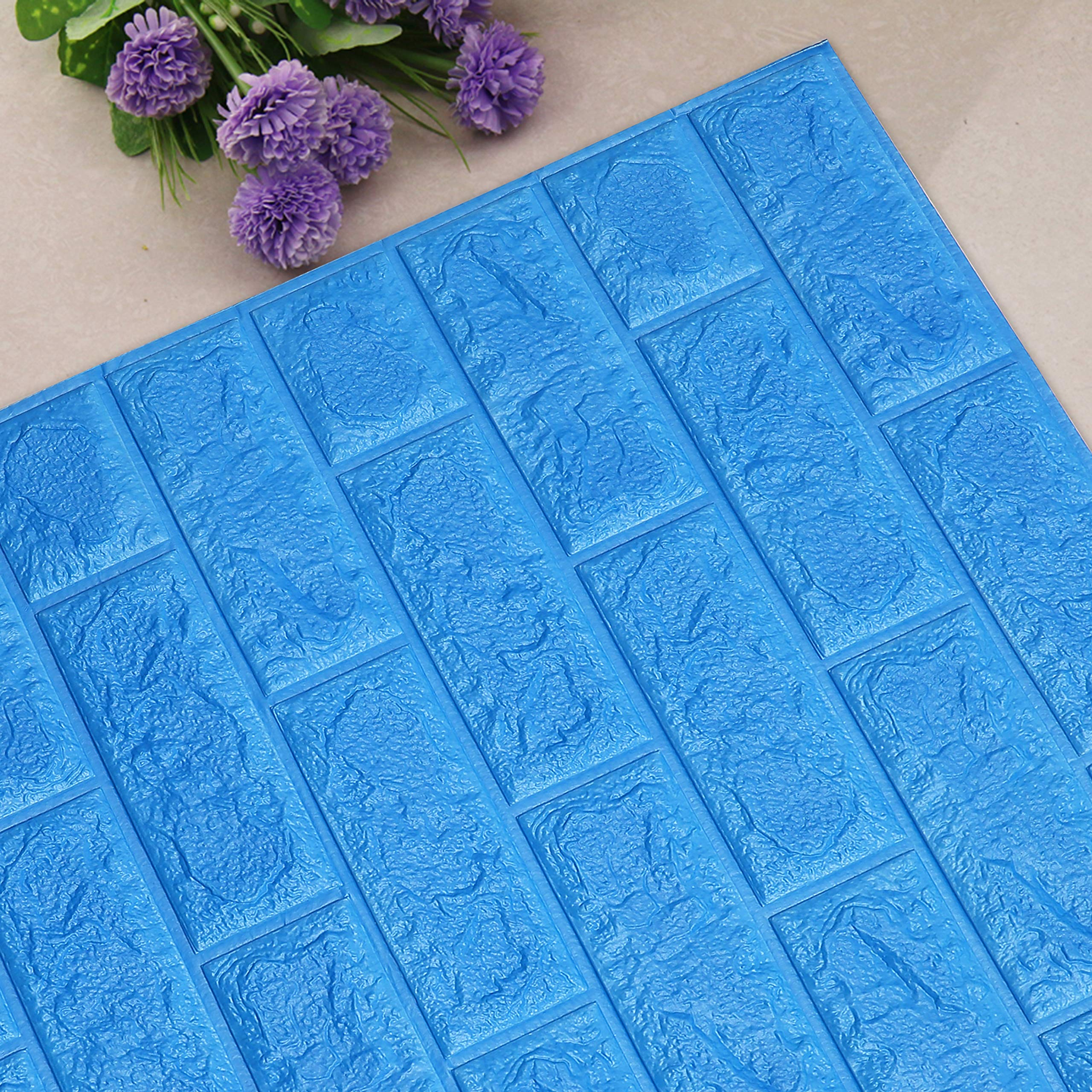 UNICOO - 3D Wall Panels Peel and Stick Self-Adhesive Real Bricks Effect Wall Tiles for Kids Room Bathroom Living Room TV Walls Sofa Background Wall Decoration. 116sq ft 20 Packs (Blue)