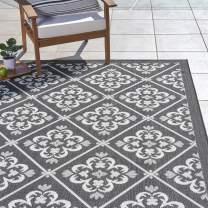 Gertmenian 22272 Outdoor Rug Freedom Collection Nautical Themed Smart Care Deck Patio Carpet, 5x7 Standard, Diamond Flower Border Black White