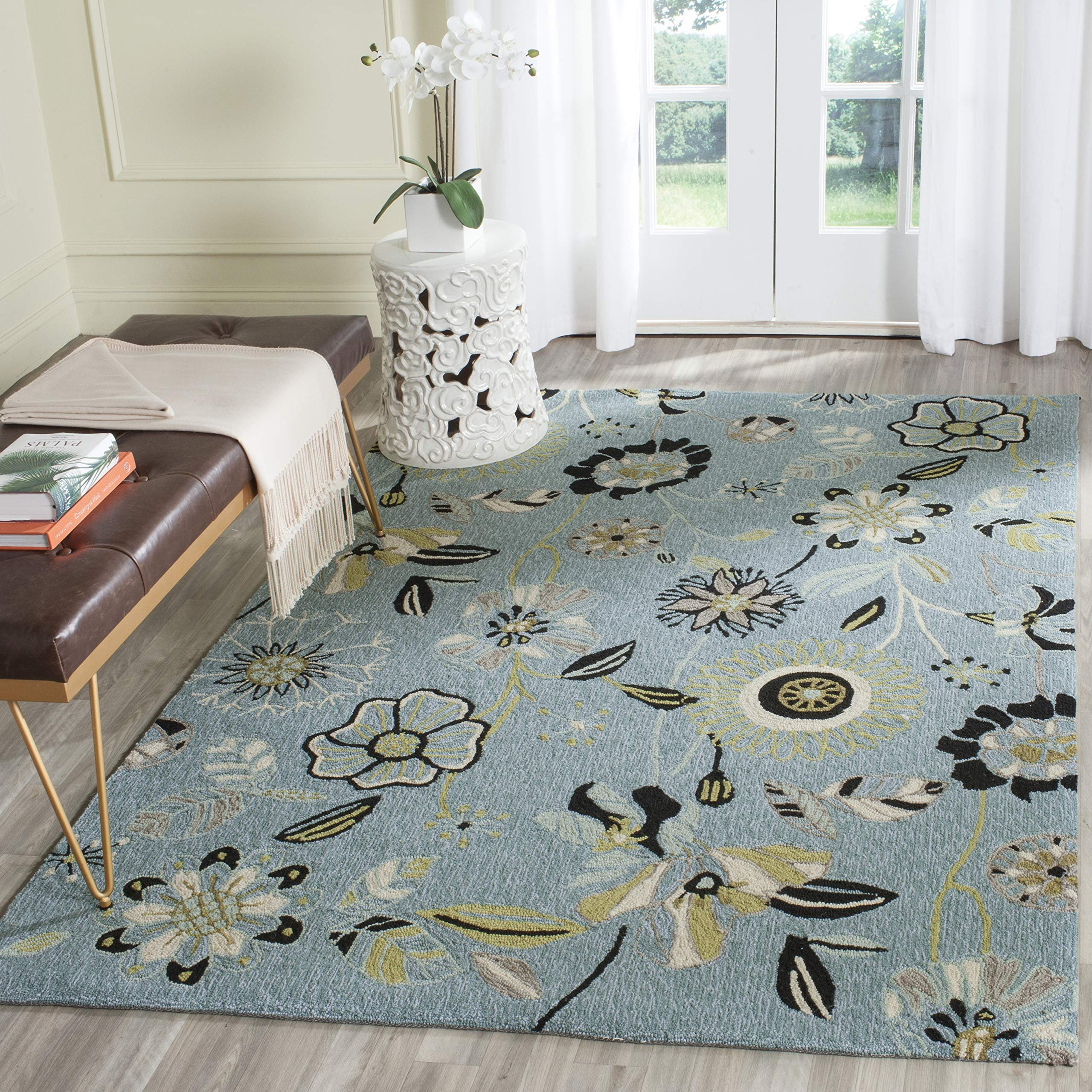 Safavieh Four Seasons Collection FRS482B Hand-Hooked Blue and Multi Indoor/ Outdoor Area Rug (5' x 8')