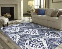"""PRIYATE Florida Collection - Oriental Motif   Indoor/Outdoor Area Rug   Water Repellent, Anti Slip, Non-Shedding Area Rug for Bedroom, Living Room, Home Office and More – Navy Blue (5'3"""" X 7'6"""")"""