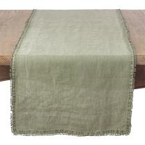 "SARO LIFESTYLE Pomponin Collection Olive Pompom Design Table Runner, 16"" x 72"" Oblong"