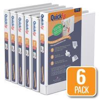 QuickFit View Binder, 1 Inch, Round Ring, White, 6 Pack (88010-06)