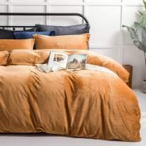 NTBAY Velvet Flannel Queen Duvet Cover Set, 3 Pieces Zippered Comforter Cover Set, Camel