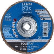 "PFERD Polifan SG Abrasive Flap Disc, Type 29, Threaded Hole, Phenolic Resin Backing, Aluminum Oxide, 5"" Dia., 40 Grit (Pack of 1)"