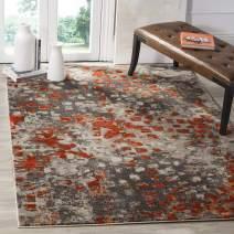 Safavieh Monaco Collection MNC225H Modern Boho Abstract Watercolor Area Rug, 10' x 14', Grey/Orange