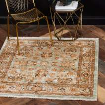 Unique Loom Dorchester Collection Vintage Border Botanical Light Green Square Rug (4' x 4')