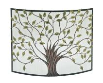 """Deco 79 Lovely Traditional Metal Fire Screen, 33"""" H x 3 L, Textured Black and Gold"""